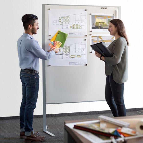 Panou Prezentare Neuland LW-11 Duo Combi, Tabla Whiteboard și Panou Textil, fetru Rosu Inchis