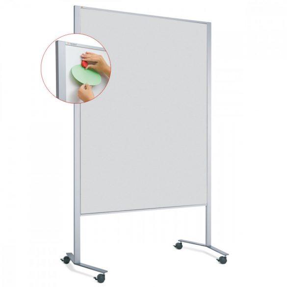 Panou Textil Mobil LW-11 Duo Slide Combi: Whiteboard-Pinboard - fetru Gri deschis