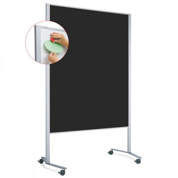 Panou Textil Mobil LW-11 Duo Slide Combi: Whiteboard-Pinboard - fetru Negru
