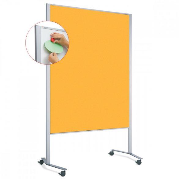Panou Textil Mobil LW-11 Duo Slide Combi: Whiteboard-Pinboard - fetru Galben