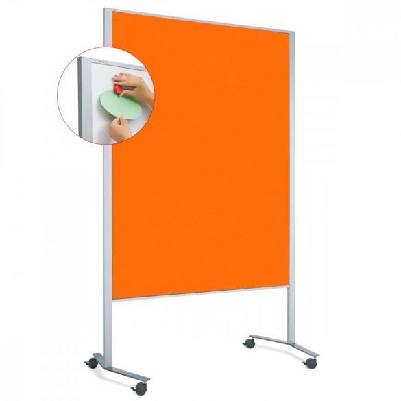 Panou Textil Mobil Neuland LW-11 Duo Slide Combi: Whiteboard-Pinboard - fetru Portocaliu Mandarină