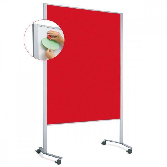 Panou Textil Mobil Neuland LW-11 Duo Slide Combi: Whiteboard-Pinboard - fetru Roșu Intens
