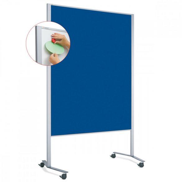 Panou Textil Mobil LW-11 Duo Slide Combi: Whiteboard-Pinboard - fetru Albastru Marin