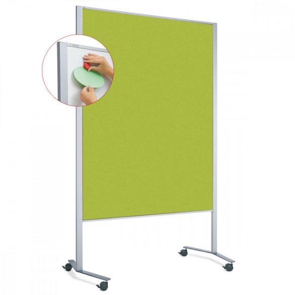 Panou Textil Mobil LW-11 Duo Slide Combi: Whiteboard-Pinboard - fetru Măr Verde