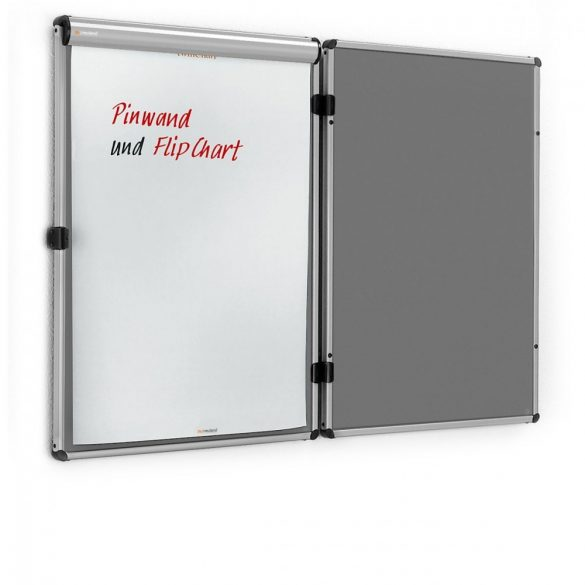 EuroTwin Wall Pinboard, left opening: grey alu/anthracite