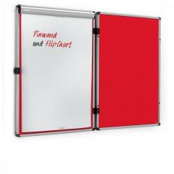 EuroTwin Wall Pinboard, left opening: grey alu/red
