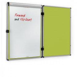 EuroTwin Wall Pinboard, left opening: grey alu/apple