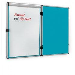 EuroTwin Wall Pinboard, left opening: grey alu/ocean