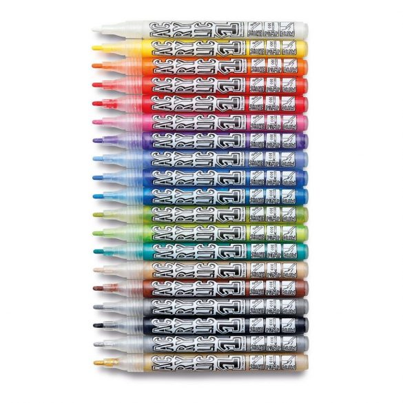 Markere AcrylicOne FINE, varf rotund 1,5mm ‒ 19 buc /Set