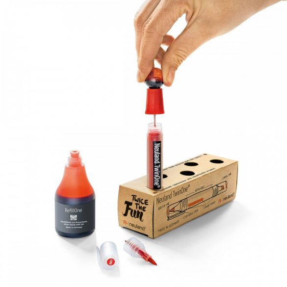 Marker reincarcabil, 2 varfuri, Neuland TwinOne®, Galben Intens 500