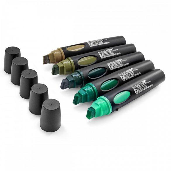 Set Markere Reincarcabile Neuland BigOne®, vârf teșit 6-12 mm: 5/set no. 12 Back to Green