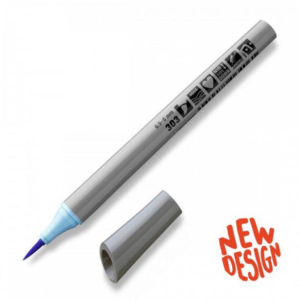 Fineliner Marker cu varf pensula Neuland FineOne® Art, 0.5-7 mm, Albastru Pastel (303)