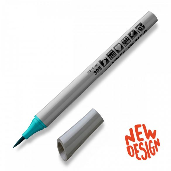 Fineliner Marker cu varf pensula Neuland FineOne® Art, 0.5-7 mm, Ocean (305)