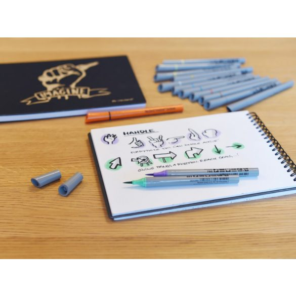 Fineliner Marker cu varf pensula Neuland FineOne® Art, 0.5-7 mm, Verde Pastel (403)