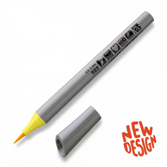 Fineliner Marker cu varf pensula Neuland FineOne® Art, 0.5-7 mm,  Galben Pastel (502)