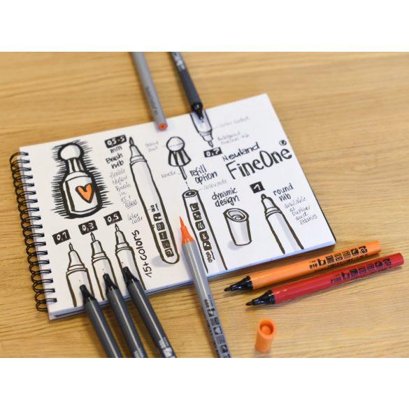 Fineliner Marker cu varf pensula Neuland FineOne® Art, 0.5-7 mm, Galben Neon (504)