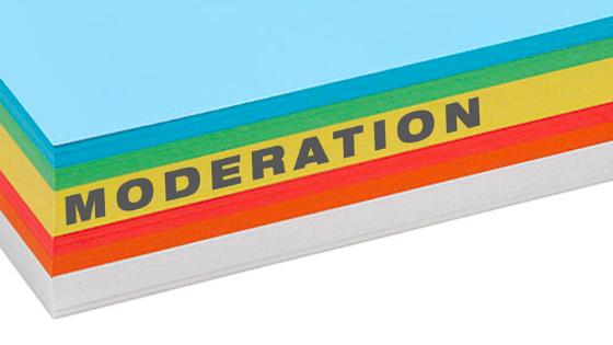 Notițe colorate pentru procese de moderare reușite